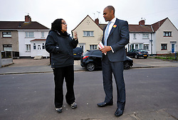 © Licensed to London News Pictures. 15/11/2012. Bristol, UK. Marvin Rees, the Labour candidate and favourite to win the first election for Mayor of Bristol, canvasses for votes in the Southmead area of the city.  There are 15 candidates for the mayor, and 4 candidates for the Police and Crime Commissioner for Avon & Somerset Police.  15 November 2012..Photo credit : Simon Chapman/LNP