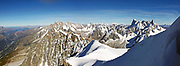 View over the peaks of the Mont Blanc massif from the summit of the Aiguille du Midi.