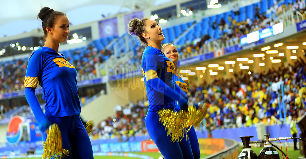 Cheer Girls performs during match 10 of the Pepsi Indian Premier League Season 7 between the Chennai Superkings and the Rajasthan Royals held at the Dubai International Stadium, Dubai, United Arab Emirates on the 23rd April 2014<br /> <br /> Photo by Sandeep Shetty / IPL / SPORTZPICS