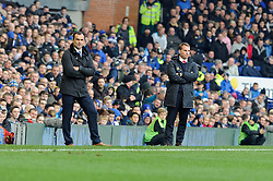 Everton Manager, Roberto Martinez and Liverpool Manager, Brendan Rodgers - Photo mandatory by-line: Dougie Allward/JMP - Tel: Mobile: 07966 386802 23/11/2013 - SPORT - Football - Liverpool - Merseyside derby - Goodison Park - Everton v Liverpool - Barclays Premier League