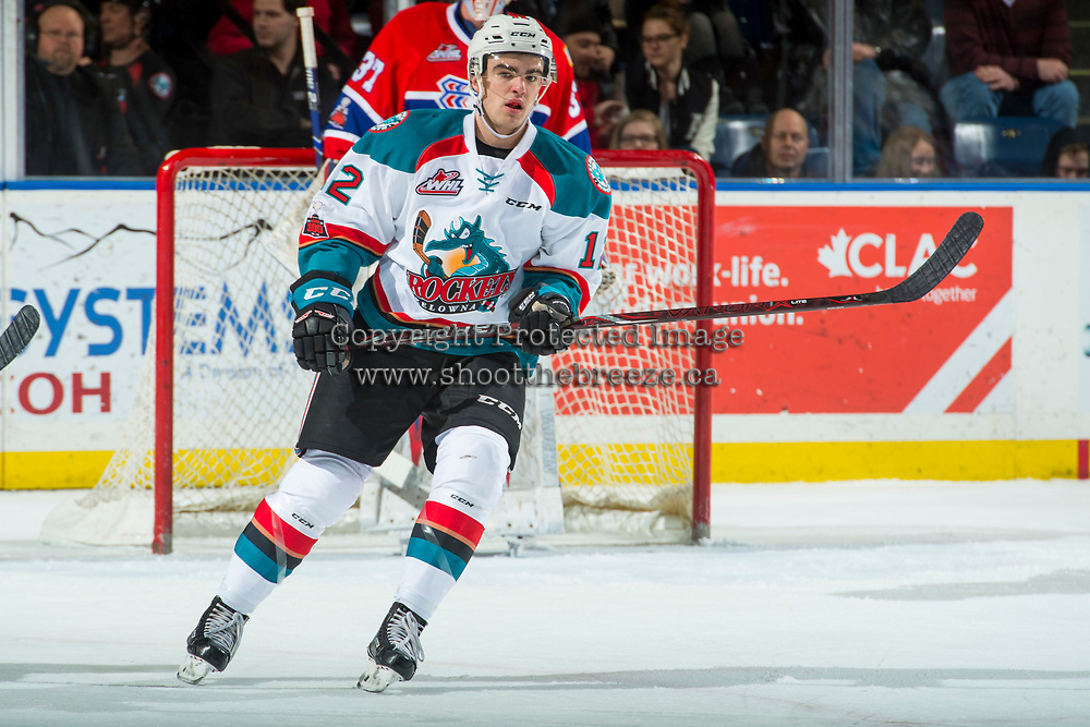 KELOWNA, CANADA - MARCH 3:  Erik Gardiner #12 of the Kelowna Rockets skates against the Spokane Chiefs on March 3, 2018 at Prospera Place in Kelowna, British Columbia, Canada.  (Photo by Marissa Baecker/Shoot the Breeze)  *** Local Caption ***