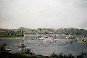 Schloss Pillnitz, Kupferstich, historische Ansicht von Schloss Pillnitz mit Elbe, Dresden, Sachsen, Deutschland.|.Pillnitz castle, historic print with view of Pillnitz castle, Dresden, Germany