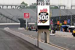 May 19, 2019 - Indianapolis, IN, U.S. - INDIANAPOLIS, IN - MAY 19: An Indy500 logo is displayed on the scoreboard during the practice session for the IndyCar Series 103rd Indianapolis 500 on May 19, 2019, at the Indianapolis Motor speedway in Indianapolis, Indiana. (Photo by Michael Allio/Icon Sportswire) (Credit Image: © Michael Allio/Icon SMI via ZUMA Press)