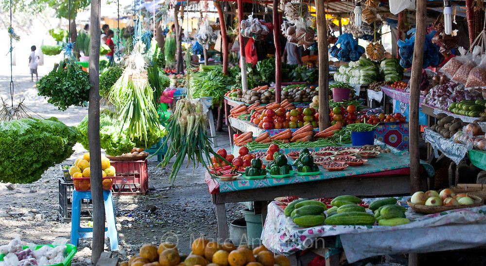 Local produce market selling colourful fruit and vegetables in Dili, East Timor