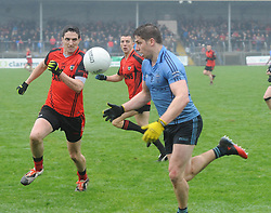 Kenmare&rsquo;s Shane Dalton squares up to Westport Lee Keegan during All Ireland Club semi-final in Ennis.<br /> Pic Conor McKeown