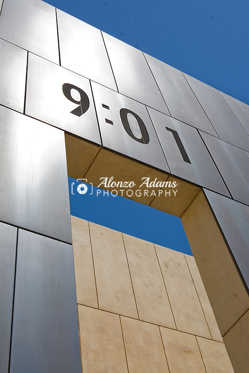 The 9:01 Gate of Time stands at the East entrance to the Outdoor Symbolic Memorial at the Oklahoma City National Memorial in downtown Oklahoma City, Okla. on Thursday, May 28, 2009.  (Photo by Alonzo J. Adams)
