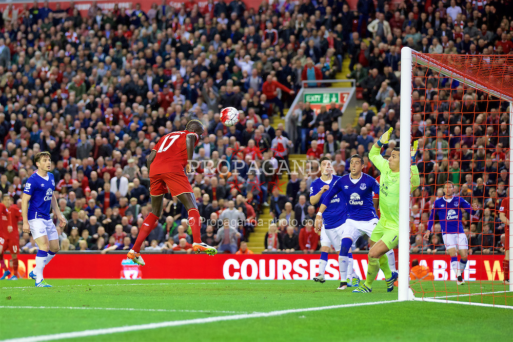LIVERPOOL, ENGLAND - Wednesday, April 20, 2016: Liverpool's Mamadou Sakho scores the second goal against Everton during the Premier League match at Anfield, the 226th Merseyside Derby. (Pic by David Rawcliffe/Propaganda)