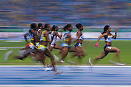 Rio de Janeiro, Brazil, July 24 of 2007:   Women's 100m final, won by Mikele Barber. <br />