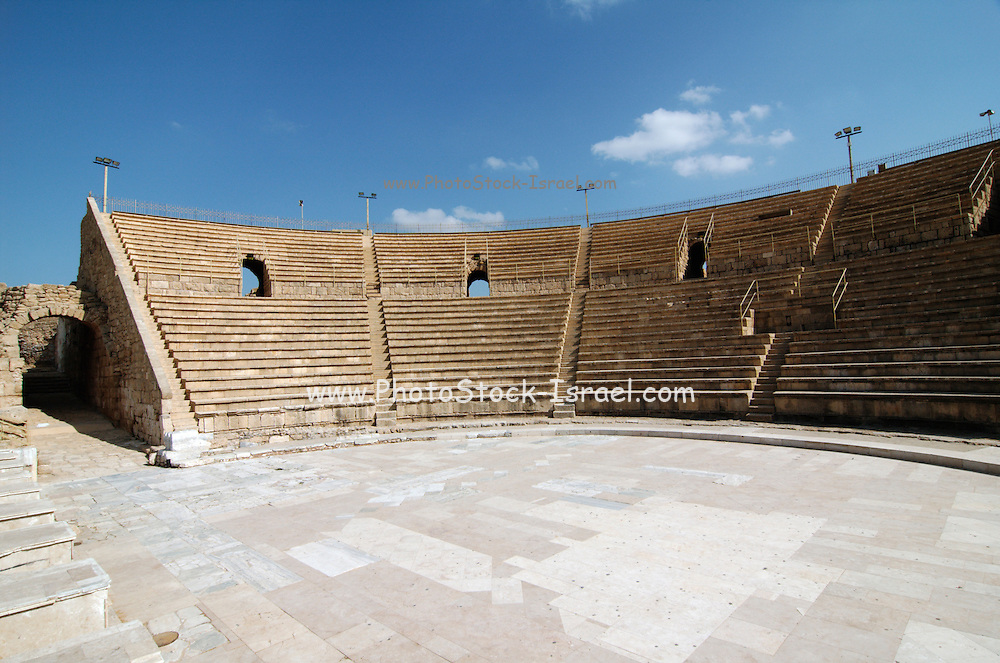 The amphitheater, on the city's southern shore Caesarea, a town built by Herod the Great about 25 - 13 BC, lies on the sea-coast of Israel about halfway between Tel Aviv and Haifa, Remains of all the principal buildings erected by Herod existed down to the end of the 19th century. Remains of the medieval town are also visible, consisting of the walls (one-tenth the area of the Roman city), the castle, the site of the modest Crusader cathedral and church.