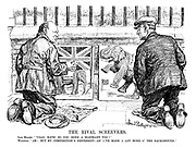 "The Rival Screevers. Sam Hoare. ""Ullo, mate! So you done a elephant too?"" Winston. ""Ah! But my composition's different - an' I've made a lot more o' the background."" (Winston Churchill and Samuel Hoare as street painters with pictures showing different proportions of the Indian elephants to the British flag)"