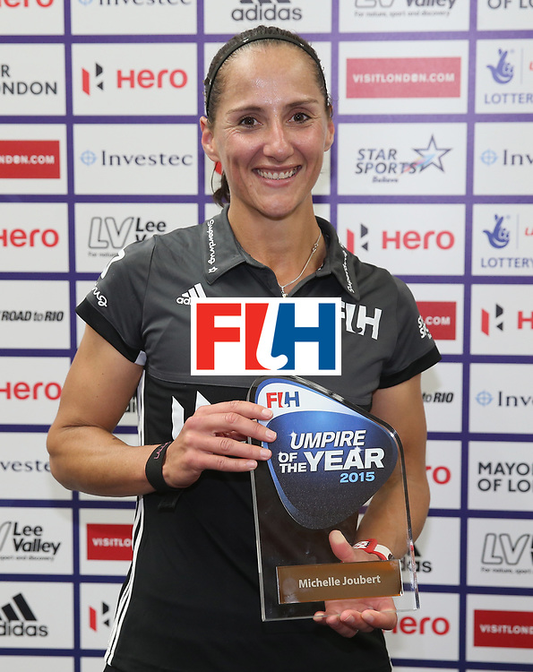 LONDON, ENGLAND - JUNE 18:  Michelle Jouberg is presented with the Umpire Of The Year award for 2015 during the FIH Women's Hockey Champions Trophy match between Netherlands and New Zealand at Queen Elizabeth Olympic Park on June 18, 2016 in London, England.  (Photo by Alex Morton/Getty Images)