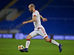 CARDIFF, WALES - Monday, September 9, 2019: Belarus' Ivan Mayeuski during the International Friendly match between Wales and Belarus at the Cardiff City Stadium. (Pic by David Rawcliffe/Propaganda)