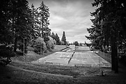 West tennis courts and Reservoir 6, Mount Tabor Park, Portland, Oregon, USA.