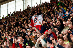 Sheffield United fans celebrate after the final whistle of the match - Mandatory by-line: Ryan Hiscott/JMP - 05/05/2019 - FOOTBALL - Bet365 Stadium - Stoke-on-Trent, England - Stoke City v Sheffield United - Sky Bet Championship
