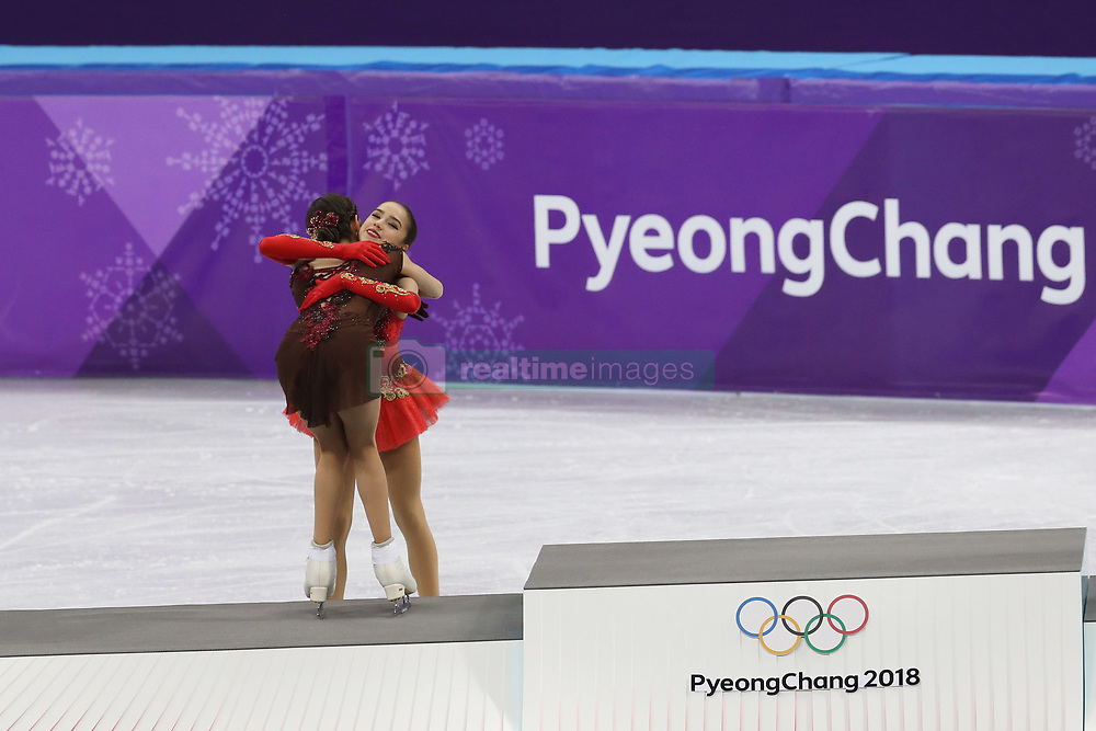 February 21, 2018 - Gangneung, South Korea - (L-R) EVGENIA MEDVEDEVA and ALINA ZAGITOVA of Russia, top two after Figure Skating: Ladies Single Skating Free Skating, at Gangneung Ice Arena during the 2018 Pyeongchang Winter Olympic Games. (Credit Image: © Jon Gaede via ZUMA Wire)