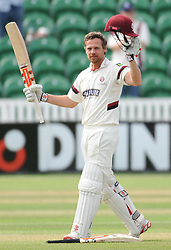 James Hildreth celebrates his double century off 287 balls 27 fours and 1 sixes. - Photo mandatory by-line: Alex Davidson/JMP - Mobile: 07966 386802 - 22/08/15 - SPORT - CRICKET - LV County Championship Division One - Day Two - Somerset v Worcestershire - The County Ground, Taunton, England.