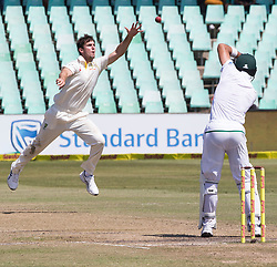 Durban. 040318. Mitchell Marsh of Australia celebrates the wicket of Faf du Plessis of the Proteas during day 4 of the 1st Sunfoil Test match between South Africa and Australia at Sahara Stadium Kingsmead on March 04, 2018 in Durban, South Africa