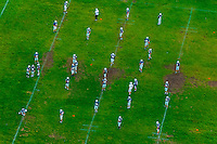 Aerial view of a high school football practice, Albuquerque, New Mexico USA