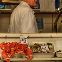 H.S. Linwood & Sons, traditional quality fishmongers located in Leadenhall's covered Victorian market,  City of London<br />