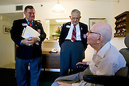 World War I Veteran Harry Landis, 107, at home in Sun City Center.  Landis is one of only four known surviving veterans of WWI.  Also pictured are MOAA members retired Maj. Jerry Foppe and retired Cmdr. Ed Socha.