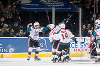 KELOWNA, CANADA - DECEMBER 30: Tyson Baillie #24 and Riley Stadel #3 of Kelowna Rockets celebrate a goal against the Prince George Cougars on December 30, 2014 at Prospera Place in Kelowna, British Columbia, Canada.  (Photo by Marissa Baecker/Shoot the Breeze)  *** Local Caption *** Tyson Baillie; Riley Stadel;
