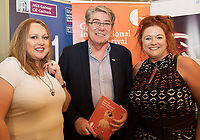 REPRO FREE: Mairé Cronogue , GAlway, Gary McMahon City Council and Denise McNamara City Tribune  in Hotel Meyrick for the announcement of the programme for the 2018 Galway International Arts Festival Programme 16-29 July which features an exciting Irish and international programme of theatre, opera, dance, circus, music, spectacle, visual art, and First Thought Talks featuring interviews and discussions on the theme of home, six world premieres, five Irish premieres and artists and theatre makers from across the world. Highlights include world premieres of Paul Muldoon's Incantata, new plays by Sonya Kelly and Cristin Kehoe (Druid) and a new theatre installation from Enda Walsh, visual arts / installations commissions from David Mach Rock 'n' Roll and Olivier Grossetête The People Build. Photo:Andrew Downes, xposure.