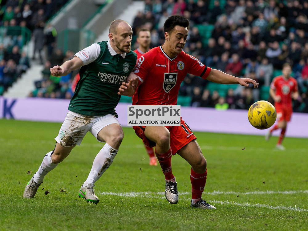 Hibernian FC v St Mirren FC <br /> <br /> David Gray (Hibernian captain) and Cameron Howieson  (St Mirren) during the SPFL Championship match between Hibernian and St Mirren FC at Easter Road Stadium on Saturday 23 January 2016.<br /> <br /> Picture Alan Rennie.