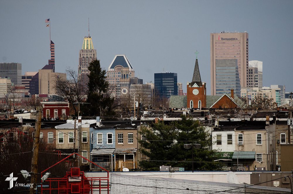 St. Thomas Lutheran Church is seen among the Baltimore, Md., skyline on Friday, March 28, 2014.  LCMS Communications/Erik M. Lunsford