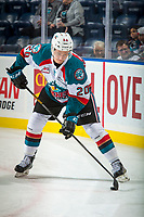 KELOWNA, CANADA - SEPTEMBER 29: Conner Bruggen-Cate #20 of the Kelowna Rockets warms up with the puck against the Everett Silvertips on September 29, 2017 at Prospera Place in Kelowna, British Columbia, Canada.  (Photo by Marissa Baecker/Shoot the Breeze)  *** Local Caption ***