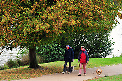 &copy; Licensed to London News Pictures.04/10/2017.<br /> TUNBRIDGE WELLS, UK.<br /> Autumn weather at Dunorlan Park in Tunbridge Wells, Kent. <br /> Photo credit: Grant Falvey/LNP