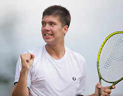 LONDON, ENGLAND - Tuesday, June 29, 2010: Oliver Golding (GBR) celebrates after winning the Boys' Singles 2nd Round match on day eight of the Wimbledon Lawn Tennis Championships at the All England Lawn Tennis and Croquet Club. (Pic by David Rawcliffe/Propaganda)