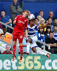 Darnell Furlong of Queens Park Rangers challenges James Brophy of Swindon Town to a header - Mandatory by-line: Robbie Stephenson/JMP - 10/08/2016 - FOOTBALL - Loftus Road - London, England - Queens Park Rangers v Swindon Town - EFL League Cup