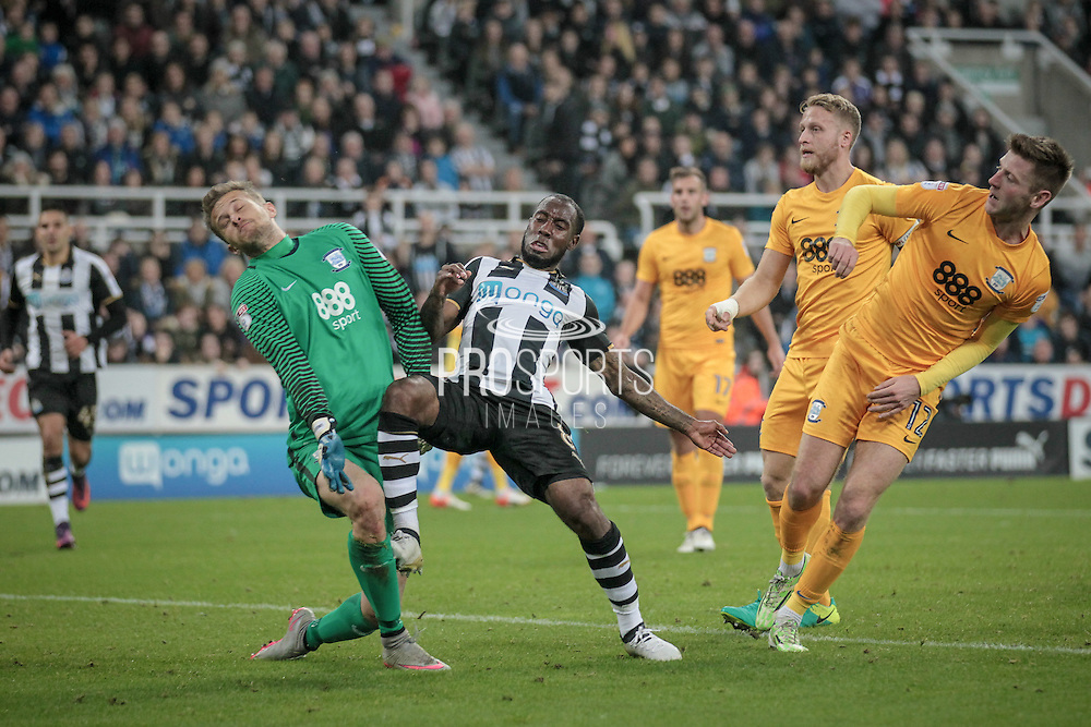 Vurnon Anita (Newcastle United) challenges Anders Lindegaard (Preston North End) during the EFL Cup 4th round match between Newcastle United and Preston North End at St. James's Park, Newcastle, England on 25 October 2016. Photo by Mark P Doherty.