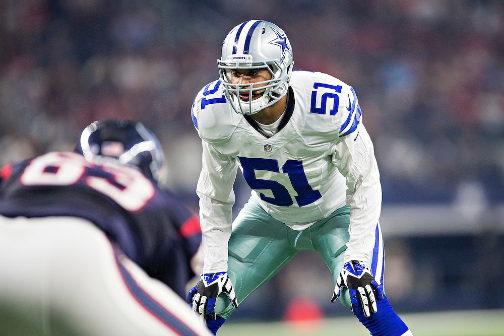 ARLINGTON, TX - SEPTEMBER 3:  Kyle Wilber #51 of the Dallas Cowboys looks over the offense at the line of scrimmage during a preseason game against the Houston Texans at AT&T Stadium on September 3, 2015 in Arlington, Texas.  The Cowboys defeated the Texans 21-14.  (Photo by Wesley Hitt/Getty Images) *** Local Caption *** Kyle Wilber