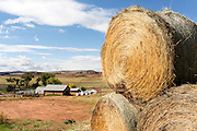 WY02390-00...WYOMING  - Hay bails stacked up at the Willow Creek Ranch.