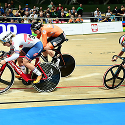 03-03-2019: WK wielrennen: Baan: Pruszkow <br />- Cycling - UCI Track Cycling World Championships presented by Tissot - Velodrome BGZ Arena, Pruszkow, Poland - Neah Evans of Great Britain races the Women's Points Race.