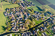 Nederland, Groningen, Gemeente Ten Boer, 04-11-2018; Thesinge en omgeving, door aardbevingen getroffen gebied, bevingen die het gevolg zijn van de winning van aardgas.<br /> Thesinge and its surroundings, earthquake-affected area. The earthquakes that are the result of the extraction of natural gas.<br /> <br /> luchtfoto (toeslag op standaard tarieven);<br /> aerial photo (additional fee required);<br /> copyright&copy; foto/photo Siebe Swart