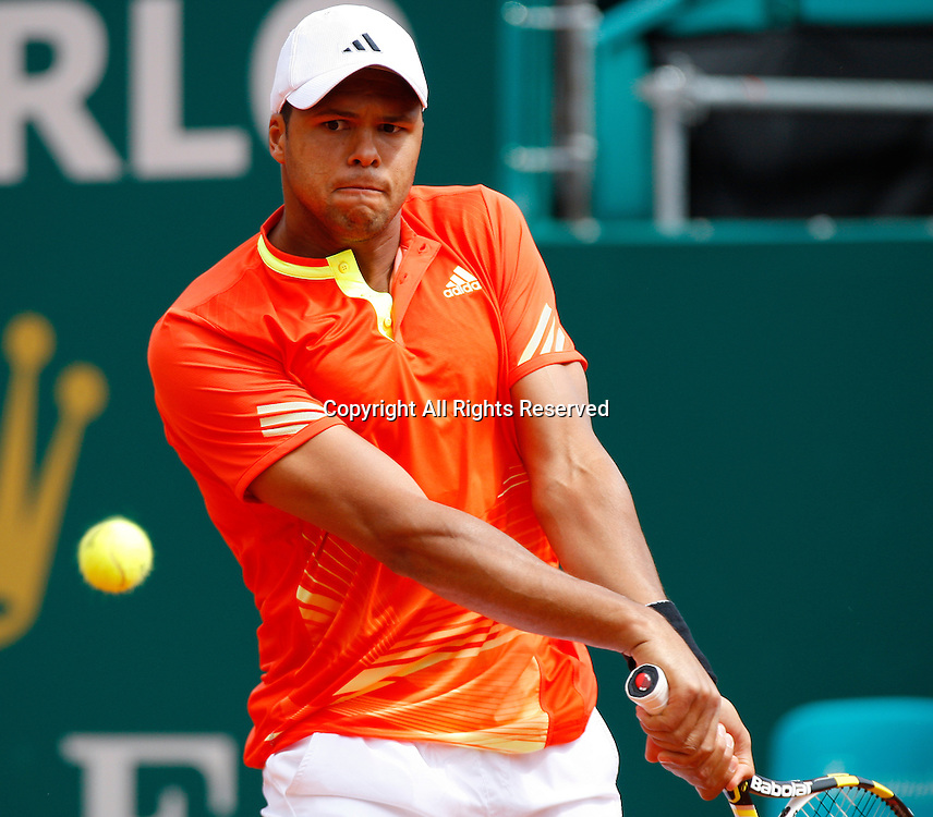 19.04.2012 Monte Carlo, Monaco. Jo-Wilfried Tsonga (FRA) in action against Fernando Verdasco (ESP) during the 3rd Round of the 2012 Monte-Carlo Rolex Masters tennis, at the Monte Carlo Country Club, Monaco.