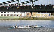 Hammersmith, GREAT BRITAIN,   Eton, J15 1st 8+, Oundle, pass under Hammersmith Bridge,  2008 School Head of the River Race,  04/03/2008  2008. [Mandatory Credit, Peter Spurrier/Intersport-images] [Mandatory Credit, Peter Spurrier/Intersport-images] Rowing Course: River Thames, Championship course, Putney to Mortlake 4.25 Miles, Hammersmith Bridge