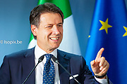 Brussels , 14/12/2018 <br /> European Summit meeting of the EU heads of states and governments at the European Council headquarters . Press Conference of Giuseppe Conte at the end of the European Council .                              <br /> Pix : Giuseppe Conte              <br /> Credit : Daina le Lardic / Isopix