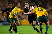 Dan Carter in action during the Tri Nations and Bledisloe Cup Rugby Union Test Match. Australian Wallabies v New Zealand, Suncorp Stadium, Brisbane, Australia on Saturday 27 August 2011.  Photo: Patrick Hamilton/Photosport