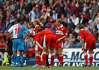 Photo: Back Page Images. 16/10/2004.<br /> Barclays Premiership. Blackburn Rovers v Middlesbrough. Ewood Park.<br /> Mike Riley sends off Tuguy