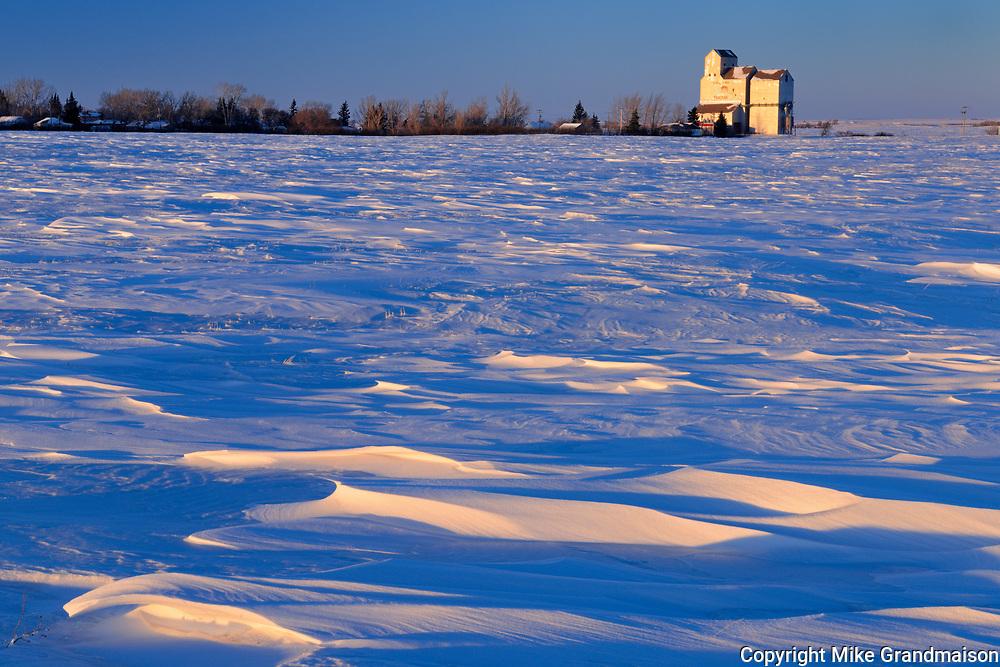 Grain elevator at sunrise<br />Pangman<br />Saskatchewan<br />Canada