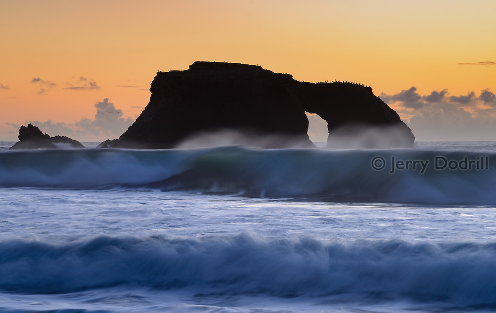 Sea birds settle in for the night on Arch Rock as surf pounds Blind Beach in Sonoma Coast State Park, Jenner, California