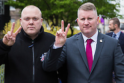 London, UK. 12th April 2019. Paul Golding (r), leader of far-right group Britain First, seen in Westminster after attending the Rolling Thunder Ride for Soldier F.