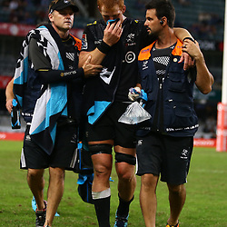 DURBAN, SOUTH AFRICA - MAY 05: Deane Macquet (Physiotherapist) of the Cell C Sharks with Philip van der Walt of the Cell C Sharks and DR Alan Kourie of the Cell C Sharks during the Super Rugby match between Cell C Sharks and Highlanders at Jonsson Kings Park Stadium on May 05, 2018 in Durban, South Africa. (Photo by Steve Haag/Gallo Images)