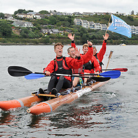 REPRO FREE<br /> Pictured at the RNLI Kinsale Raft Race on the Saturday of the Kinsale Regatta are winners Matthew Becker, Daniel Kidney, Luke Kidney and Maitiu O'Connell from the Kinsale Outdoor Education Centre.<br /> Picture. John Allen