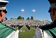 Photo by Kevin Riddell.The Marching 110 take the field before the game against Kent State on Saturday, September 29, 2007.