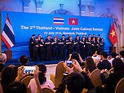 23 JULY 2015 - BANGKOK, THAILAND:  Members of the Thai and Vietnamese delegations stand for a group portrait in Government House in Bangkok. The Vietnamese Prime Minister and his wife came to Bangkok for the 3rd Thailand - Vietnam Joint Cabinet Retreat. The Thai and Vietnamese Prime Minister discussed issues of mutual interest.     PHOTO BY JACK KURTZ