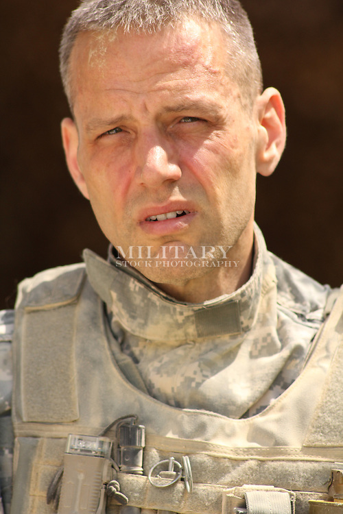 US Army soldier portrait (actor), model-released, US DoD-compliant for advertising use.